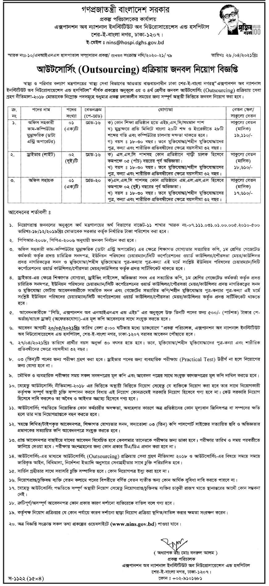 DGHS Job Circular 2021