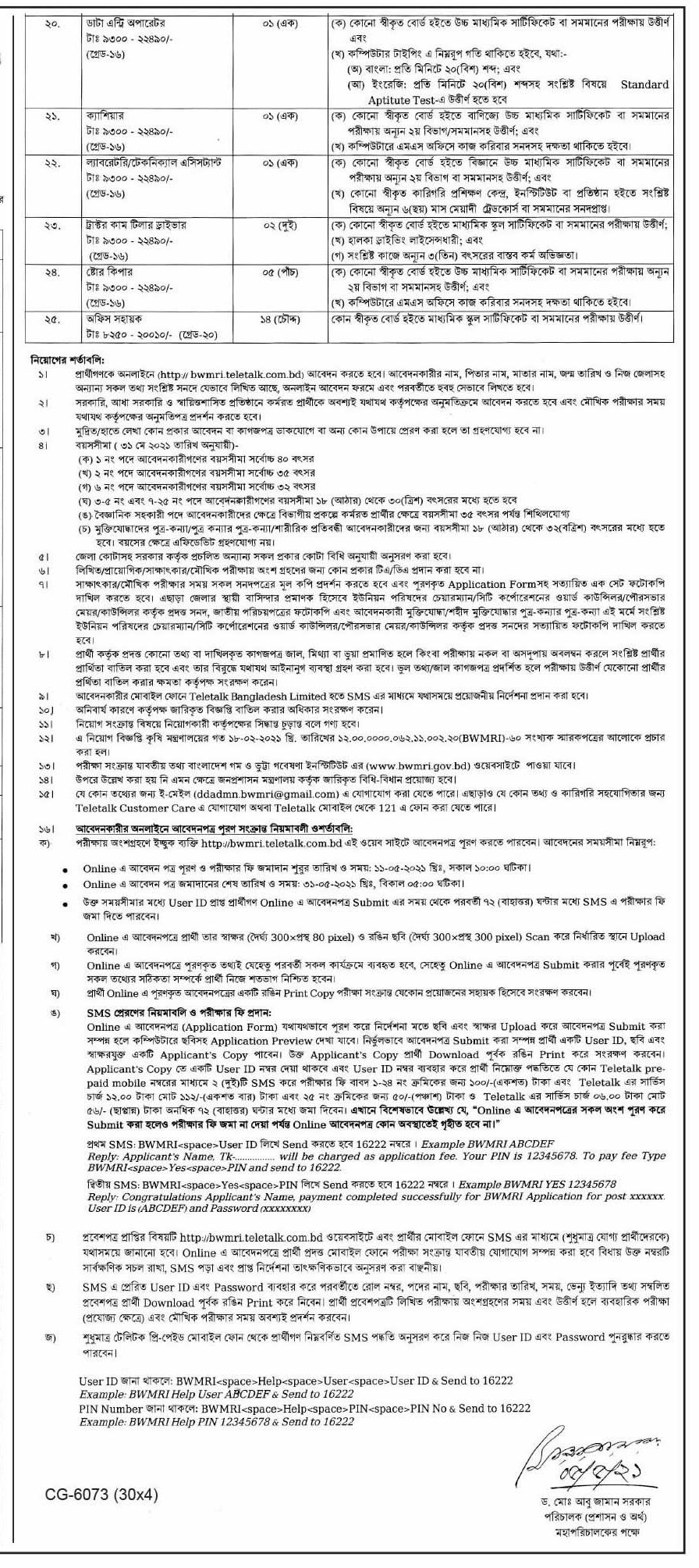 BWMRI Job Circular 2021 2