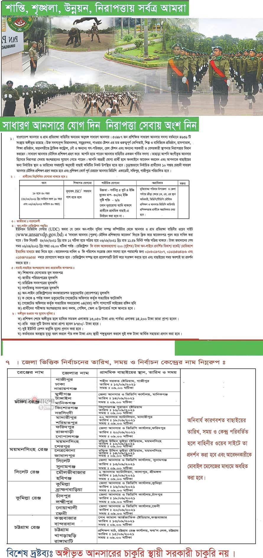 Bangladesh Ansar VDP Job Circular 2021