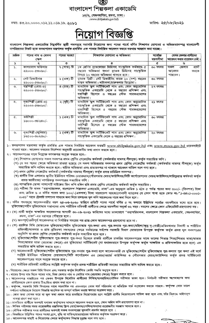 Bangladesh Shilpakala Academy Job Circular 2021