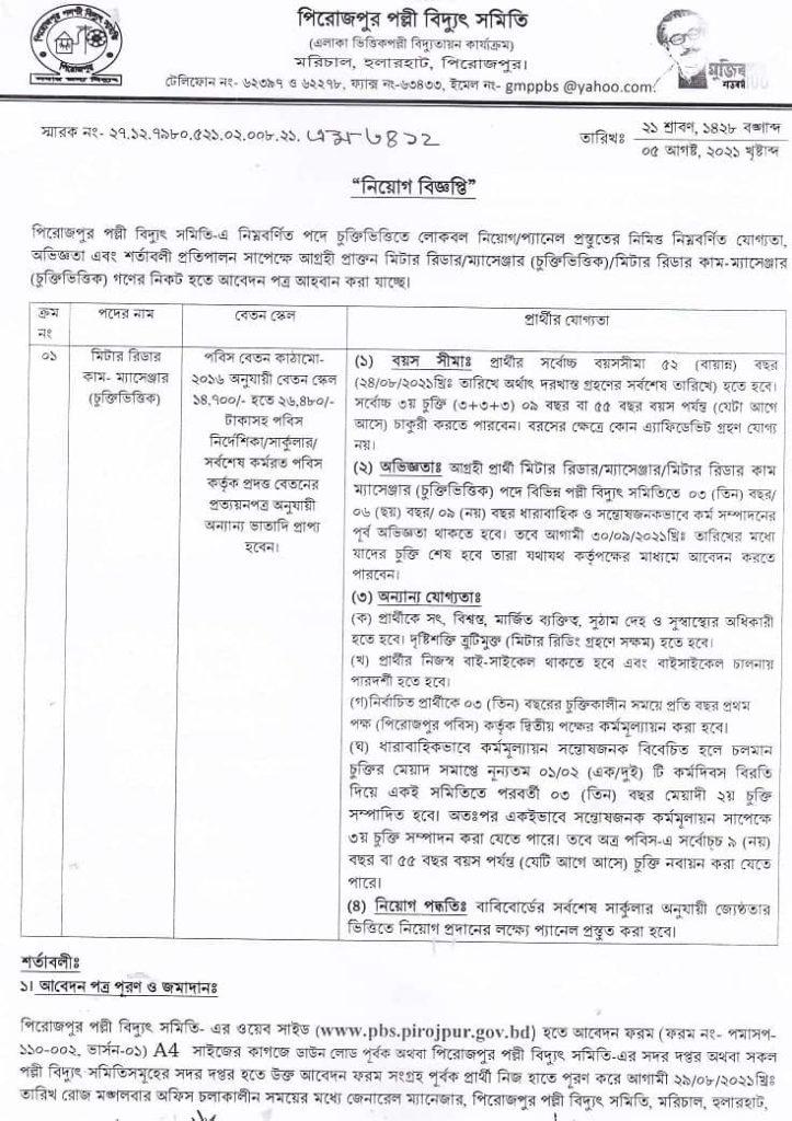 PBS Pirojpur Job Circular 2021