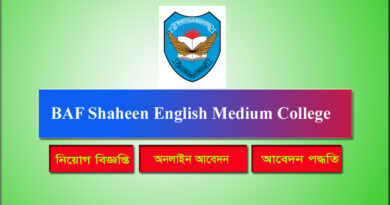 BAF Shaheen English Medium College Job Circular 2021