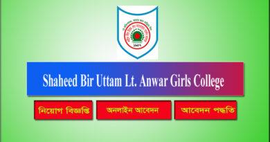Shaheed Bir Uttam Lt. Anwar Girls College Job Circular 2021