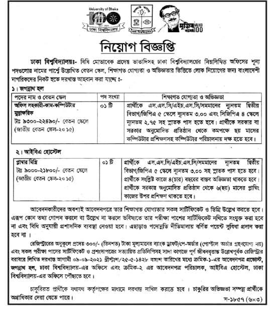 Dhaka University Job Circular 2021