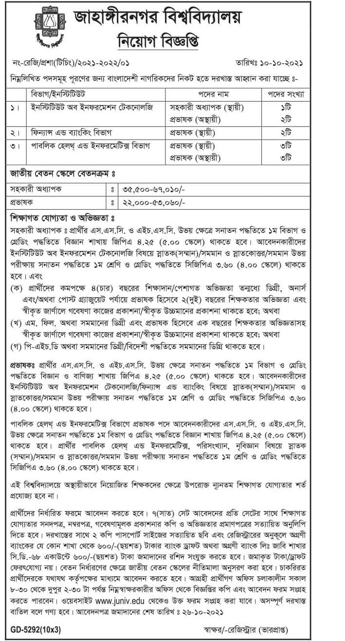 Jahangirnagar University Job Circular 2021